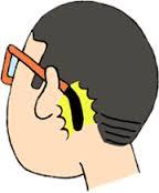 メガネだと耳の後ろ
